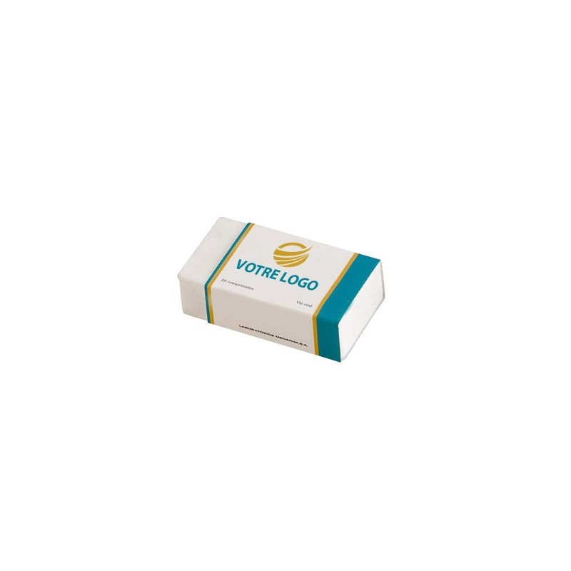 Gomme pharma Gomme puiblicitaire rectangle
