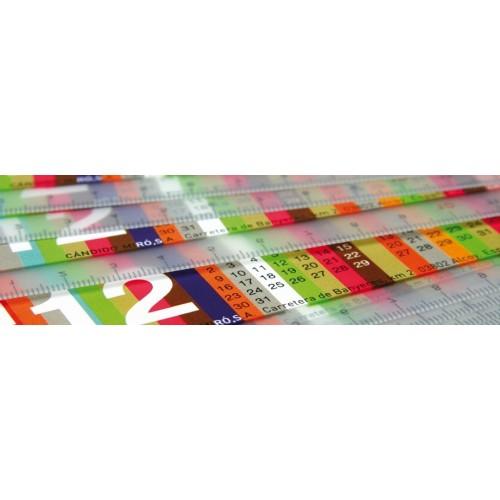 Règle publicitaire avec calendrier Calendrier plastique publicitaire