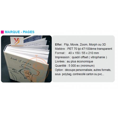 Marque-pages publicitaire 3D Lenticulaire 3D