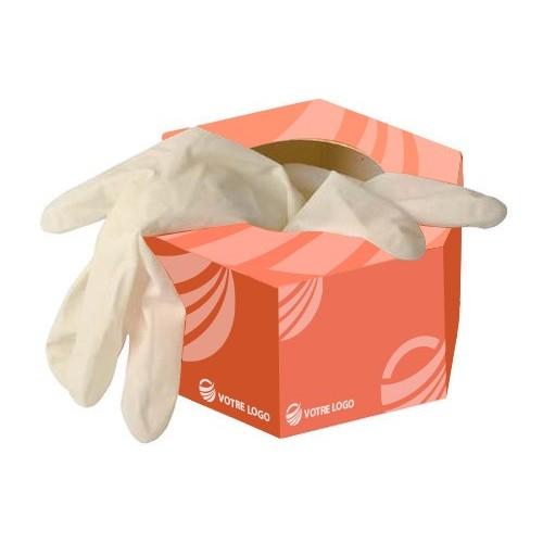Gants latex en boîte hexagonale Gants médicaux publicitaires