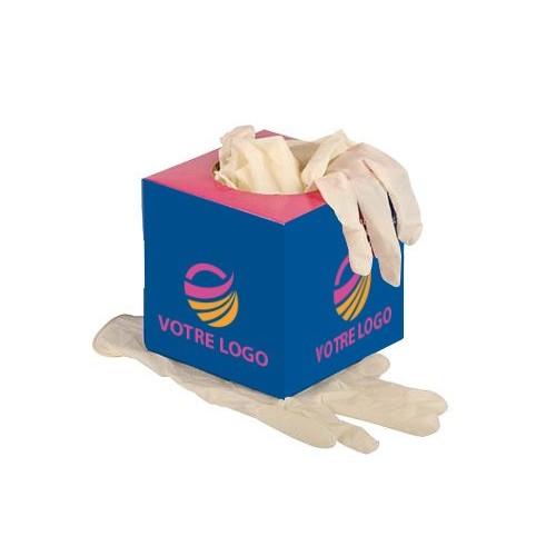 Gants latex en boîte carrée Gants médicaux publicitaires