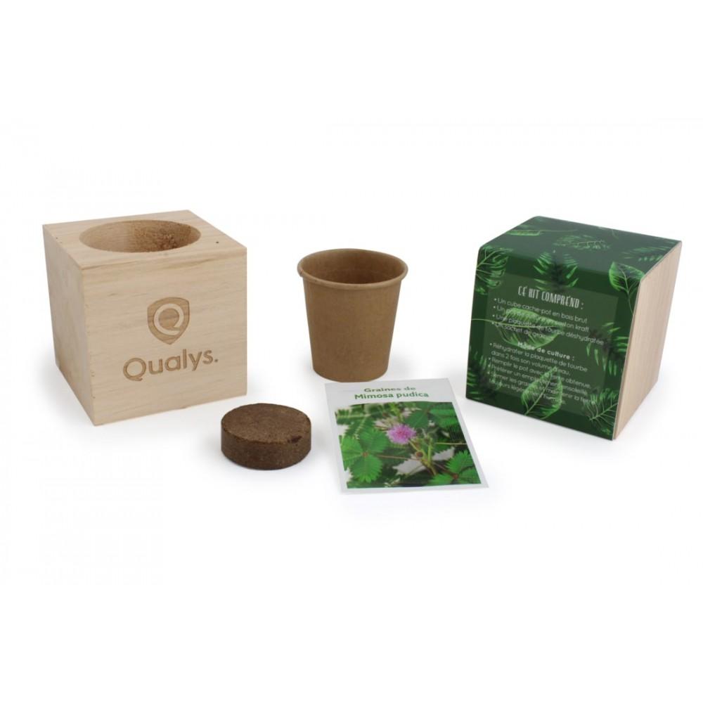 Pot Plante En Bois pot plante bois personnalisé pot de fleurs publicitaire