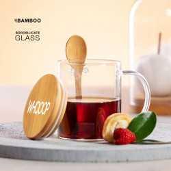 Tasse en verre couvercle bambou Mug publicitaire