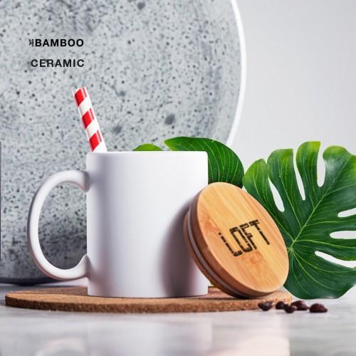 Mug céramique couvercle bambou Mug publicitaire