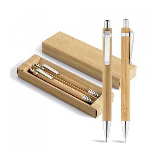 Set stylo à bille et porte-mine Bambou GREENY Stylos écologiques