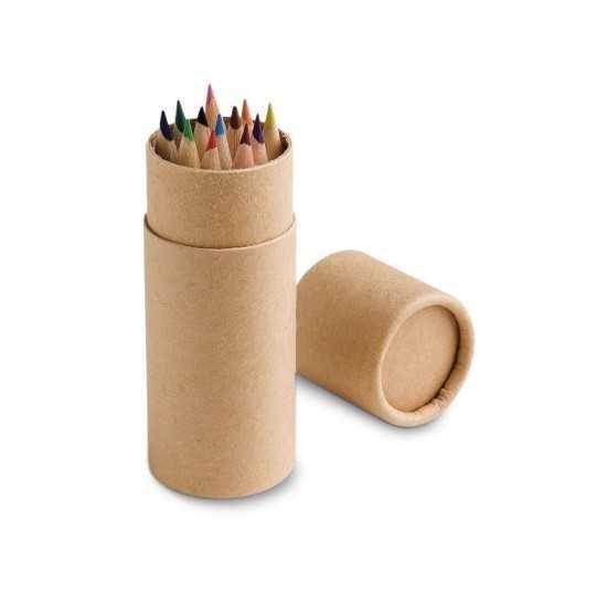 Boîte avec 12 crayons de couleur CYLINDER Boite crayon de couleur personnalisé