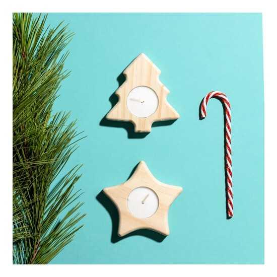 Bougie de Noël en bois de pin NOEL