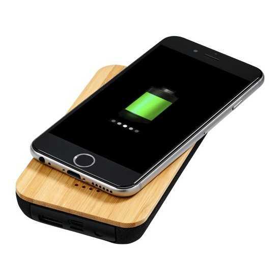 batterie externe induction bambou coton 6000 mAh Batterie externe Bois personnalisable