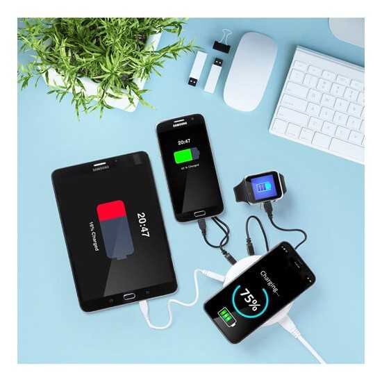 Chargeur induction 3 sorties Powerbank publicitaire
