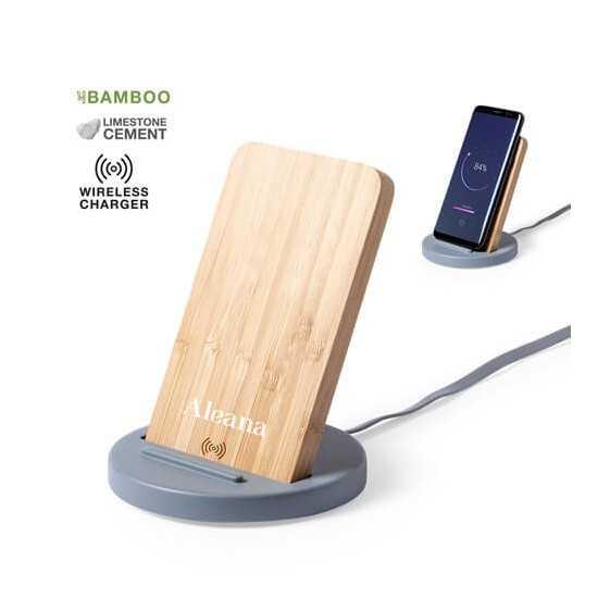 Support téléphone chargeur sans fil bambou Wiket Chargeur Sans Fil personnalisé
