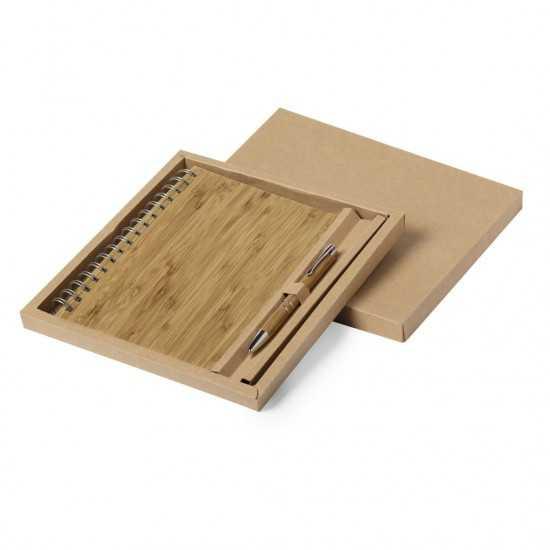 Set Carnet Bambou et Stylo Hecan Coffret Cadeau Bureau