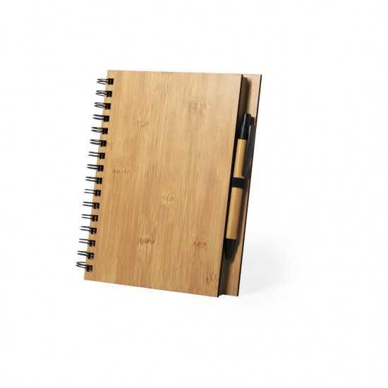 Cahier avec couverture rigide en bambou Polnar Bloc-notes avec stylo