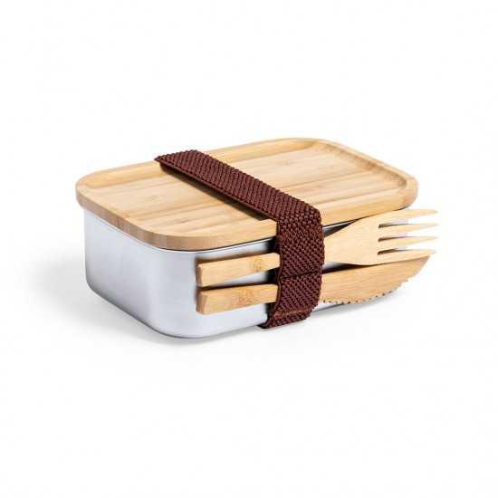 Boîte repas couvercle et couverts bambou Sariul Gamelle publicitaire