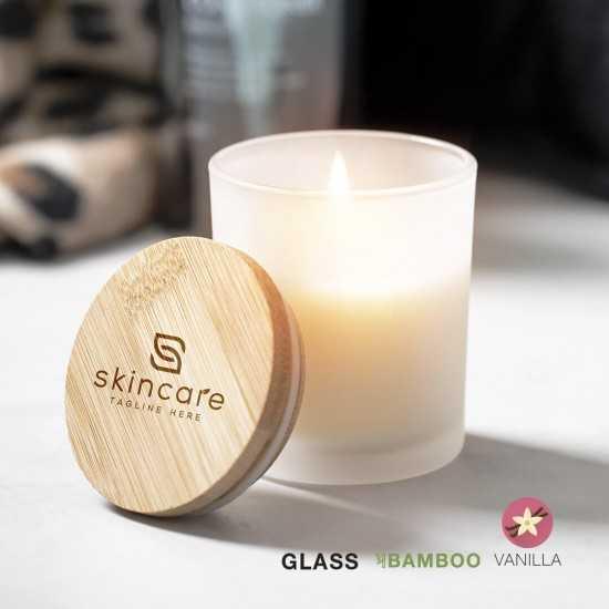 Bougie en verre couvercle bambou Trivak Bougie publicitaire