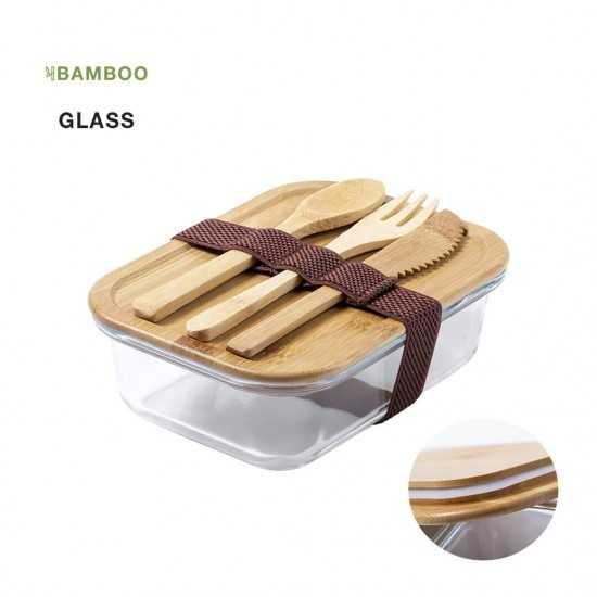 Lunch box en verre avec couverts Bambou Bejar Gamelle publicitaire