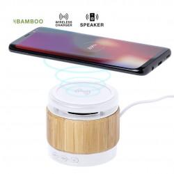 Haut-parleur Bambou avec chargeur sans fil intégré Zakrox Chargeur Sans Fil personnalisé